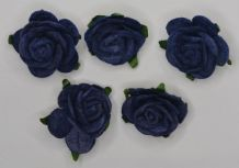 2.5cm VERY DARK NAVY BLUE Mulberry Paper Roses (only flower head)